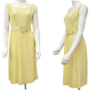 1960s Cocktail Dress FULL Circle Skirt Size Medium Bust 34 Yellow Crepe
