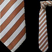 Vintage Givenchy Silk Necktie Gray Brown Regimental Stripe Italy