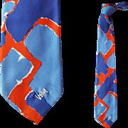 Vintage Vera Neumann Silk Necktie Red White Blue 4th of July Patriotic