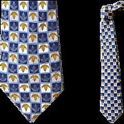 Burberry Men's Silk Necktie Blue Gray Gold Mint Tall Man