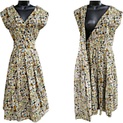 1960s Cotton Wrap Dress French Country Print Size Large - Extra Large