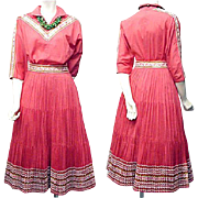 SALE 1960s Coral Cotton Patio Set Blouse and Skirt Southwest Arizona Size Large Bust 38