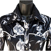 SALE 1960s - 1970s Women's Blouse Western Cut Bodysuit Medium