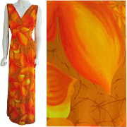 SALE Hawaiian Evening Gown Evelyn Margolis for Hilo Hattie Medium - Large