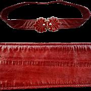 SALE Vintage Eel Skin Leather Belt Enameled Buckle Small Medium Large Extra Large