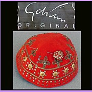 SALE PENDING 1930s - 1940s Gilbert Adrian ORIGINAL Reserved JF Beaded Hat with Hat Pin