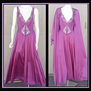 SALE PENDING GORGEOUS SET! Extra Large Purple Olga Nightgown & Peignoir Bust 42 - 44