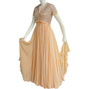 SALE Delicious 1960s Peach Nectarine Silk Chiffon Evening Gown Rhinestones Beads Faux Pearls