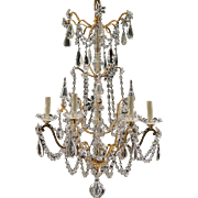 Antique 6-Light French Gilt Brass & Crystal Chandelier