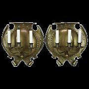 Pair Large Antique Brass 3 Light Sconces - Arts & Crafts
