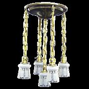 REDUCED Vintage Flush Mount Brass Shower Fixture - 5 Original Etched Shades