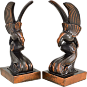 SOLD Vintage Bronzed Bookends - Bird on a Wave - Art Deco