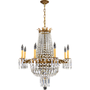 Vintage French Brass & Crystal Chandelier - 16 Lights