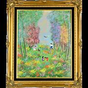 SOLD Large Vintage Louis Cardin Enamel on Copper - Impressionist 1970s
