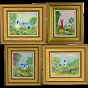SOLD Set 4 Vintage Louis Cardin Enamel on Copper - Impressionist 1978