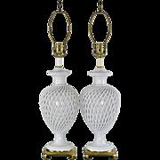 Pair Italian Pottery Lamps - Mid Century