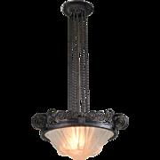 Muller Freres French Pendant Light Fixture - Art Deco