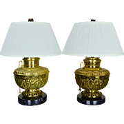 Pair Antique Brass Mammoth Kerosene Lamps Converted to Electric - Edward Miller - Juno - ...