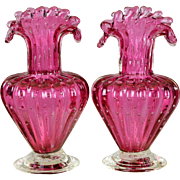 SOLD Pair Vintage Venitian Murano Cranberry Glass Vases - Controlled Bubble