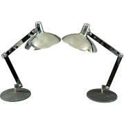 Pair Italian Articulated Chrome Desk Lamps - Mid Century
