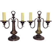 Pair Vintage English Brass Lamps  2-Lights
