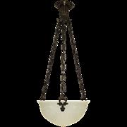 Vintage Bowl Light Fixture - Cast Glass - Urns & Swags