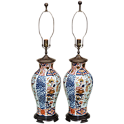 SALE Pair Large Vintage Imari Lamps
