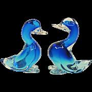 SALE Pair Large Blue Seguso Murano Glass Ducks