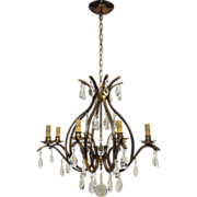 Vintage 8-Light W.German Chandelier - Brass & Crystal