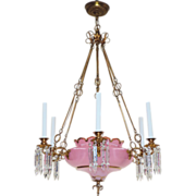 Antique Continental Chandelier - Gilt Brass/Cased Pink Opaline Glass