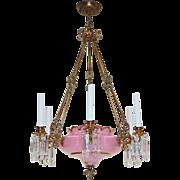 SALE Antique Continental Chandelier - Gilt Brass/Cased Pink Opaline Glass