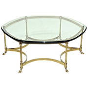 Vintage La Barge Brass Coffee Table - Glass Top