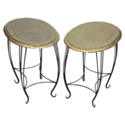 Pair Vintage Side Tables - Embossed Brass & Wrought Iron