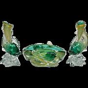 REDUCED 1930s Seguso Vetri D Arte Murano Glass Console Set - Rare