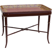 SALE Papier Mache Tray Table Burgundy / Red