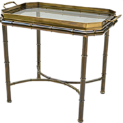 SALE Mastercraft Faux Bamboo Tray Table - Solid Brass