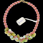 Vintage Italian Art Glass Necklace - Flowers