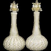 Pair Barbini Murano Bullicante Bottles - Mid Century Modern