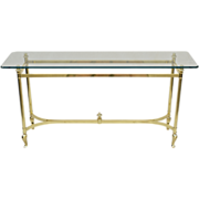 Italian Brass & Glass Table - Sofa / Console
