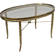 Vintage Brass Faux Bamboo Occasional Table - Italy
