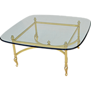 SALE PENDING Italian Brass & Glass Coffee Table