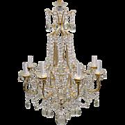 Vintage Beaded Italian Crystal Chandelier - 8 Light