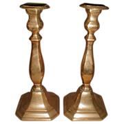 REDUCED Large Vintage Brass Candlesticks, Pair, English