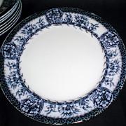 "Lovely 10 1/2"" Flow Blue Plates (Set of 8) MIKADO Grimwades"