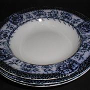SALE Group of 3 Flow Blue Soup Plates, MIKADO, Grimwades