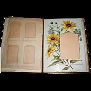 SALE Gorgeous Victorian Leather Photograph Album, 8 Floral Pages