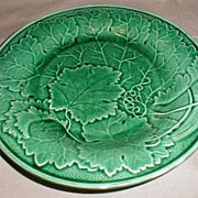 SALE Lovely 19th Century Green Majolica Plate, Wedgwood