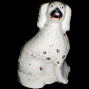 SALE Very Large 19th C. White Staffordshire Dog (Spaniel), Single