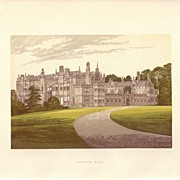 REDUCED British Ancestral Home Xylography Bushton Hall F.O. Morris