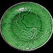 SALE Lovely Vintage Green Majolica Plate, Leaf Design